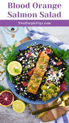 Make the most of blood orange season and infuse it in this Blood Orange Salmon Salad with Orange Dill Dressing served over black rice! This big salmon salad plate is hearty, filling, good for you and seriously delicious!! Every bite is burst of flavors and textures. I've cooked the salmon over the stove, but you can certainly throw it on the grill too! Black rice is cooked with green split peas for extra protein and fibre and the zesty fresh orange dressing takes the salad to a whole new level! Best Salad Recipes, Salad Dressing Recipes, Fish Recipes, Seafood Recipes, Gourmet Recipes, Beef Recipes, Great Recipes, Chicken Recipes, Healthy Recipes