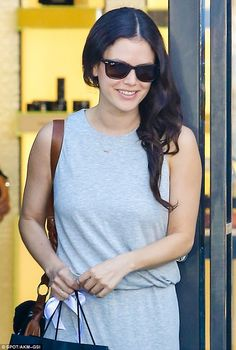 Beaming: The 34-year-old actress was all smiles during the trip to the ritzy Los Angeles n...