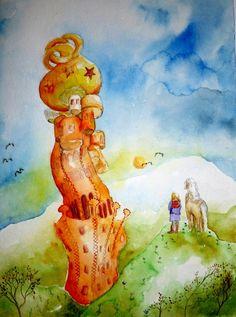 Jetzt muß die Entscheidung fallen, mal nachschauen? Wohnt da Rapunzel etwa???  Vorbild für das Aquarell war der märchenhaft anmutende Kuchlbauer...