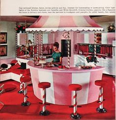 Pink carousel kitchen from the 60s House Book of Home styling ideas, a souvenir from the New York World's Fair 1964.