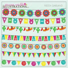 Fiesta Garland Cute Digital Clipart for Invitations, Card Design, Scrapbooking, and Web Design, Fiesta Clipart Invitation Card Design, Invitation Cards, Father's Day Clip Art, Cliparts Free, Web Design, Graphic Design, Mexican Party, Flag Banners, Fiesta Party