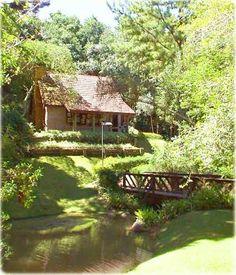 Casa no bosque com ponte sobre riacho.