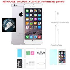 Apple iPhone 6 Unlocked 4G LTE Smartphone 16G+ 8 accessoires offerts