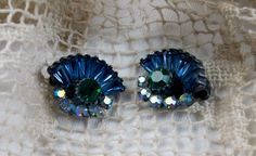 Vintage 1950s Claudette Blue, Green, Aurora Borealis Clip Earrings on Etsy, $45.00