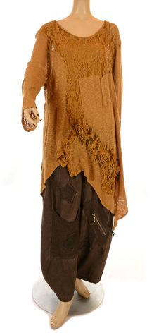 Sarah Santos Mustard & Gold Knit & Lace Two Piece Layering Tunic Set-Sarah Santos