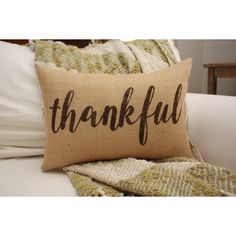 New for 2016 Shipping Within 3 Business Days Thankful Pillow... (€26) ❤ liked on Polyvore featuring home, home decor, throw pillows, decorative pillows, grey, home & living, home décor, grey throw pillows, gray throw pillows and thanksgiving home decor