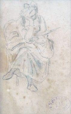Lix Frédéric Théodore - Graphite - Paysanne assise (verso) - ~15x9,3cm