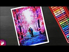 Autumn Season Scenery drawing for beginners with oil pastel – Couple walking und… autumn scenery - Trendy Oil Pastel Paintings, Oil Pastel Drawings, Oil Pastel Art, Cool Drawings, Art Beat, Autumn Scenery, Autumn Trees, Harvest Moon, Art Journal Techniques