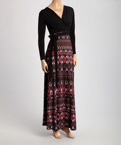 Black & Burgundy Ikat Maxi Dress #zulily #zulilyfinds