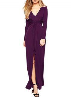 Oasap.com - oasap V Neck Long Sleeve front Slit Bodycon Maxi Dress - AdoreWe.com