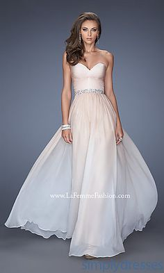 Long Ruched Strapless Sweetheart La Femme Dress at SimplyDresses.com