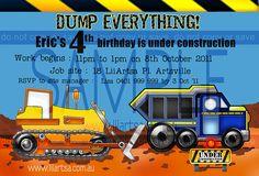Construction Childrens Birthday Invitations
