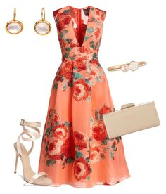 Lela Rose Floral Sleeveless V-Neck Midi Dress, Salmon/Multi Red V Neck Dress, Red A Line Dress, Red Sleeveless Dress, Floral Chiffon Dress, Red Chiffon, Pleated Midi Dress, Chiffon Dresses, Floral Dresses, Lela Rose