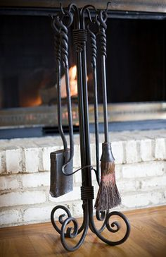 Wrought Iron Fireplace Tools. $400.00, via Etsy.