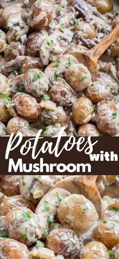 The best potato recipe made with mushrooms and creamy white wine sauce with garlic and Parmesan cheese. #easyrecipe #lunch #maincourse #sidedish #potatoesrecipe #quickrecipe #potatoeswithmushroom #amazingrecipe Vegetarian Recipes Easy, Quick Recipes, Side Dish Recipes, Cheesy Recipes, Popular Recipes, Top Recipes, Amazing Recipes, Easy Dinner Recipes, Delicious Recipes