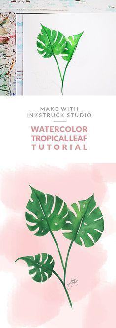 Watercolor tropical leaf tutorial- Inkstruck Studio for Dawn Nicole Designs Watercolor Tips, Watercolor Leaves, Watercolour Tutorials, Watercolor Artwork, Watercolor Techniques, Watercolor Cards, Watercolor Face, Watercolor Splatter, Painting Techniques