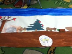 Animals in Winter / Beginning of our class mural.