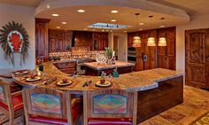 The wood work in this is awesome! And I love the open design.....just not the navajo colors so much!