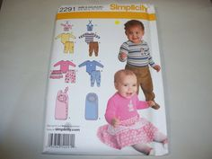 New Simplicity Baby Clothes Pattern, 2291.