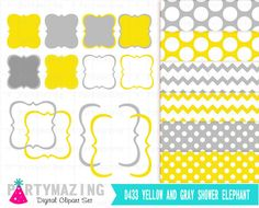Yellow and Gray Bracket Frames and Paper Pack Clipart Set  Clip Art Digital Graphic Scrapbooking Instant Download -D433 by Partymazing