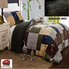2 Pcs Blankets Soft Plush Sherpa Twin Bed Pillow Case Green Brown Warm Teens Boy #FancyLinen