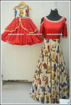# Mother and Daugter designs in Bangalore by Angalakruthi-Ladies boutique concept dress designs n me dresses india traditional dress designs by Angalakruthi Mommy Daughter Dresses, Mom And Baby Dresses, Mother Daughter Fashion, Mother Daughter Dresses Matching, Kalamkari Designs, Churidar Designs, Indian Dresses, Indian Outfits, Kalamkari Dresses