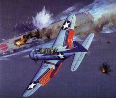 Bombardero en picado Douglas SBD Dauntless ataca un portaaviones japonés en Midway. Más en www.elgrancapitan.org/foro/