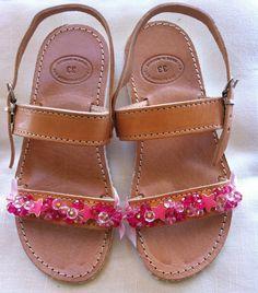 Handmade Genuine Leather Girls Sandals by ScreationsGR on Etsy Girls Sandals, Palm Beach Sandals, Leather, Handmade, Etsy, Shoes, Hand Made, Shoes Outlet, Shoe