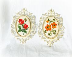 Set 2 Vintage 70s Needlepoint Flowers Framed at PaddywhackKnickKnack, $28.00