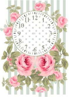 DECOPAULA Decoupage Vintage, Vintage Paper, Clock Face Printable, Clock Template, Shabby Chic Clock, Rose Clock, Clock Craft, Shabby Chic Wallpaper, Vintage Labels