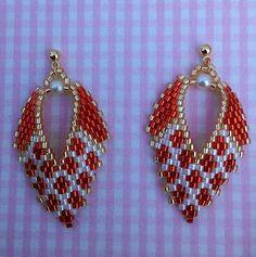 Brick Stitch beaded earrings RUSSIAN LEAF EARRINGS $15 by BeadAndBowtique on Etsy