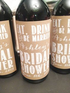 Rustic Bridal Shower Wine Labels Custom by stellabellapaperie, $10.00 - I like it better for a wedding night, at the table, vs bridal shower!