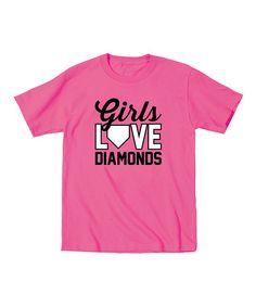 Loving this Raspberry 'Girls Love Diamonds' Tee - Toddler & Girls on #zulily! #zulilyfinds