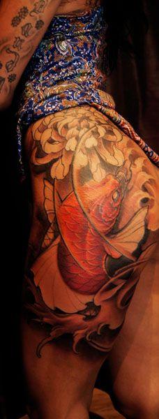 Chronic Ink Tattoos, Toronto Tattoo shop - Koi fish thigh tattoo