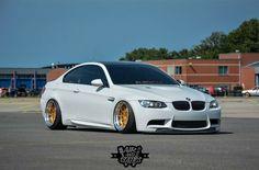 BMW E92 M3 white slammed stance
