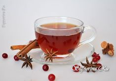 Витаминный чай с клюквой имбирем и корицей: фото