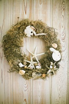 Tropical Christmas beach inspired wreath seashells and moss