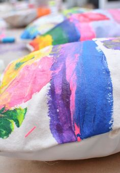 Kid Made Painted Pillows - So Cute!