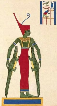 Neith was the Great Mother and   also said to have been born from Nun so that she could create the first gods and men. Her spit created the serpent Apep, and she was also the mother of the crocodile god, Sobek.