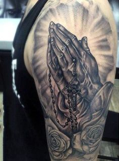 Praying Hands Tattoo On Arm For Guys