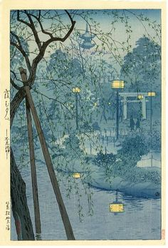 Image detail for -Shiro Kasamatsu - Soir brumeux sur l'étang de Shinobazu