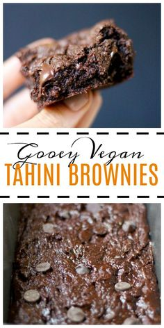 Gooey Vegan Tahini Brownies These brownies are so easy to make and are absolutely delicious Not to mention they are vegan gluten free and fairly healthy Im definitely goi. Vegan Dessert Recipes, Brownie Recipes, Gourmet Recipes, Healthy Dessert Options, Kid Recipes, Free Recipes, Chicken Recipes, Snack Recipes, Healthy Vegan Snacks