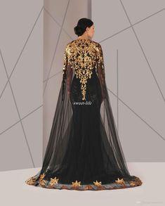 18d8b08c79 Black Arabic Muslim Evening Dresses Tulle Cloak Gold and Black Sequins Crew  Neck 2016 Plus Size Mermaid Formal Wear Long Pageant Prom Dress