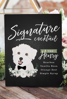 Order your customized illustrated pet portrait wedding signature cocktail sign today. It's a unique and modern way to include your pet in your wedding! Unique Wedding Favors, Unique Weddings, Wedding Decorations, Wedding Ideas, Pets At Weddings, Homemade Wedding Centerpieces, Wedding Inspiration, Wedding Souvenir, Quirky Wedding