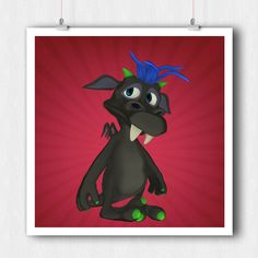Little Monster Nursery Print - Giclee Print - Children Wall Art - Kids Prints - Funny Kids Prints - Kids Bedroom Prints, Square - Kids Art by ratitaprints on Etsy