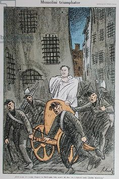 'Mussolini Triumphator', caricature from 'Simplicissimus' magazine, published in Munich, November 1925 (colour litho)
