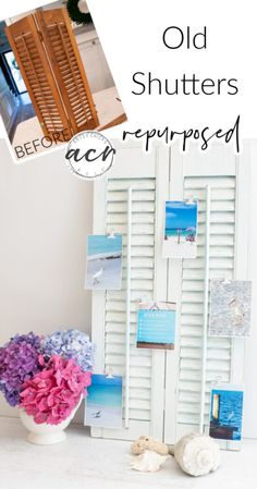 Lamp Makeover, Furniture Makeover, Old Window Shutters, Shutter Doors, Cool Lamps, Cute Crafts, Decorating On A Budget, Photo Displays, White Paints