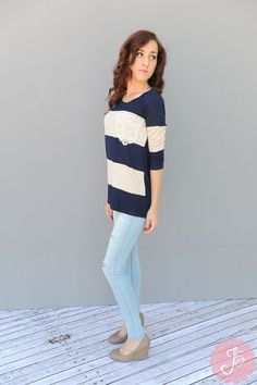 Navy and Cream Stripes with Lace Pocket