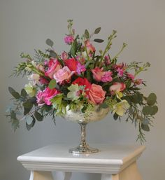 Valentine's Day flower arrangement in mercury glass compote