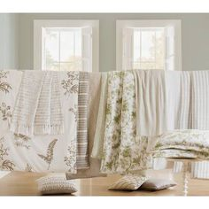 Royal Heritage Home Williamsburg Abby Ivory/White/Green Standard Cotton Reversible Traditional 4 Piece Comforter Set & Reviews | Wayfair Ruffle Bed Skirts, Ruffle Bedding, King Duvet, Queen Duvet, Bed Duvet Covers, Duvet Cover Sets, Traditional Furniture, Cotton Duvet, Quilt Sets